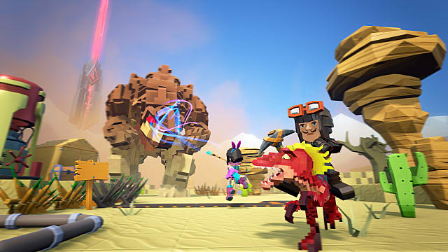a character rides on a red creature with blonde hair while another engages in battle in PixARK