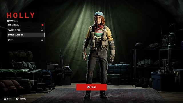 Screenshot of Holly's outfits menu.