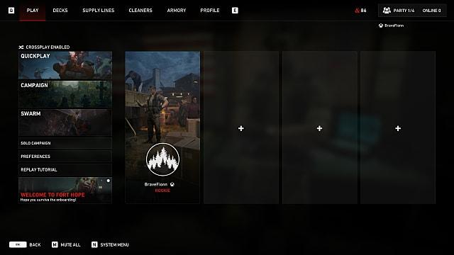 The Back 4 Blood multiplayer options menu.
