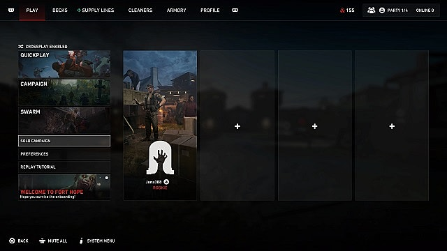 Back 4 Blood's game modes menu with the solo campaign highlighted.