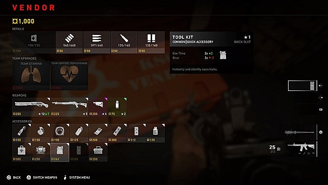 The in-mission vendor menu with the toolkit accessory highlighted.