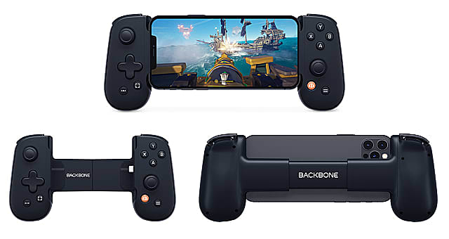 Three shots of the Backbone One; one attached to a phone playing Sea of Thieves, one empty, and one from the back of the device.