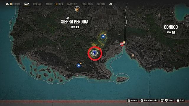 Map of La Bala De Plata's location in Sierra Perdida, Vacia Coast.