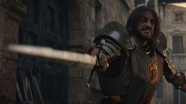 A knight wields a sword in Baldur's Gate 3 cutscene cinematic.