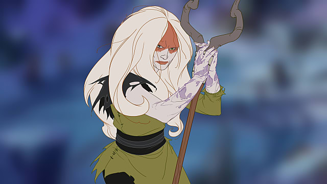 The Banner Saga 3's new healer, Alfrun, stands holding a staff and wears a green tunic