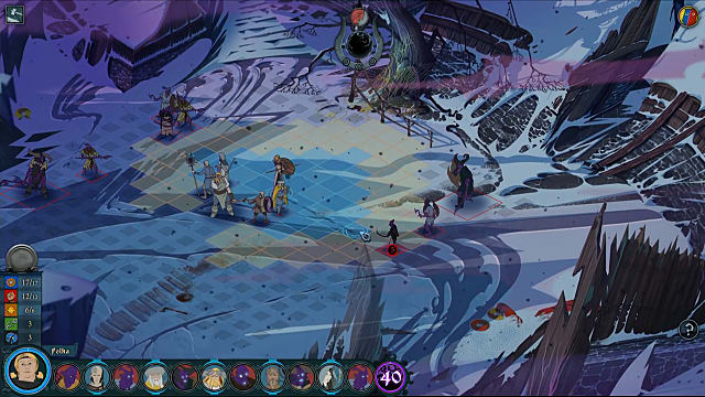 A snowy battlefield is shown in The Banner Saga 3