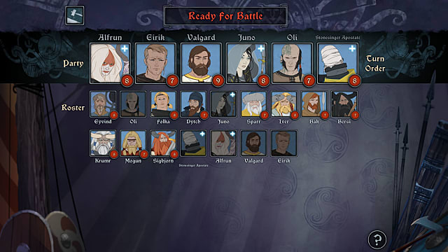 The Banner Saga 3 party select screen shows new and old characters alike