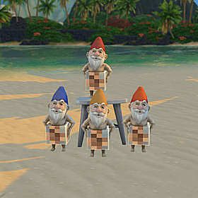 Four naked gnomes with their unmentionables censored.