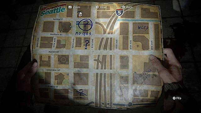 A map of Downtown Seattle in The Last of Us 2 showing Barko's Pet Store Key location.