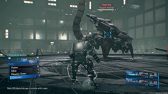 Barret targets the side of the Scorpion boss in Final Fantasy 7 Remake.