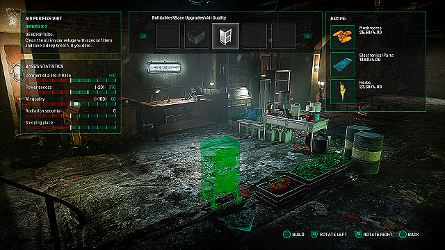 The base crafting menu in Chernobylite, showing the air purifier recipe and base stats.