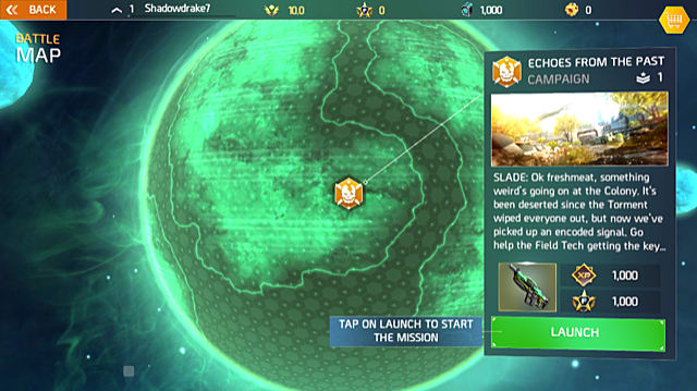 a campaign mission location is spotlighted on a battle map screen in Shadowgun Legends