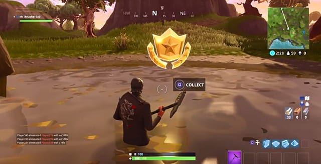 collecting a battle star while halfway submerged in Fortnite