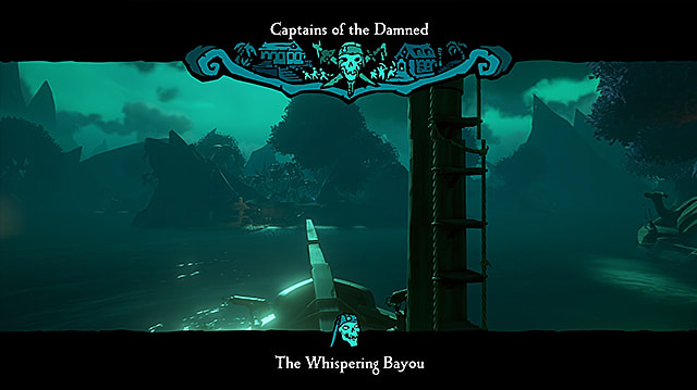 The bow of a pirate ship entering the moonlit Whispering Bayou.