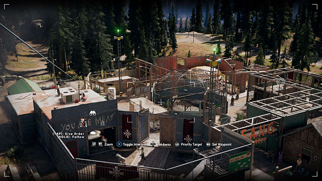 An elevated view of the F.A.N.G. Center in Far Cry 5