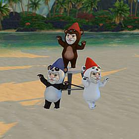 Three gnomes dressed as bears, one a panda, one a brown bear, one a polar bear.