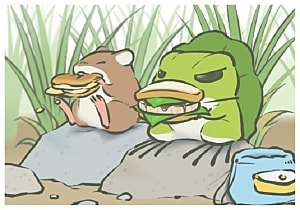 Frog eating sandwich next to mouse
