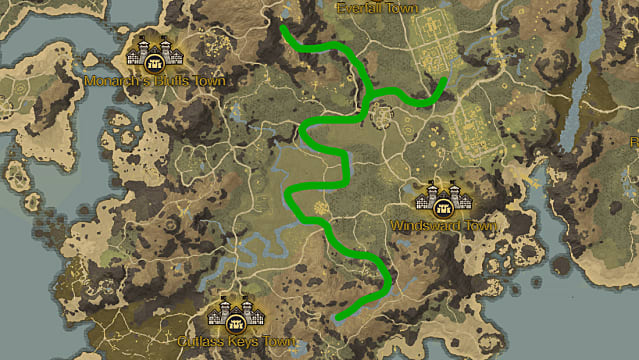 A map detailing where to harvest Rivercress in New World.