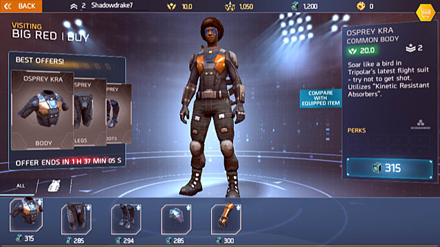 armor options from Big Red in Shadowgun Legends