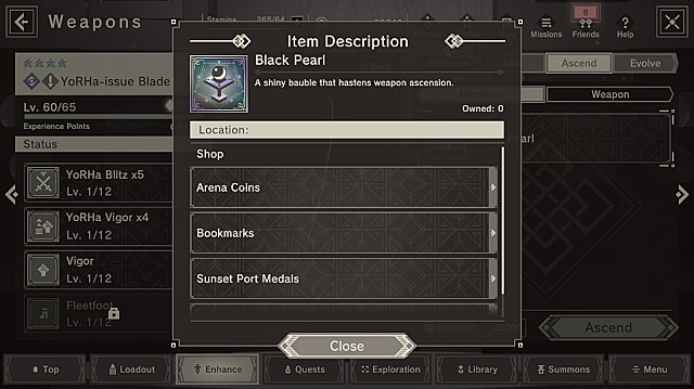 A Black Pearl item and where it can be purchased with various currencies.
