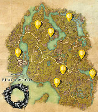 Elder Scrolls Online: Blackwood map with yellow markers showing dungeon skyshard locations.
