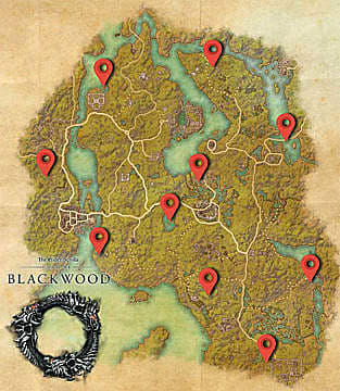 Elder Scrolls Online: Blackwood map with red markers showing world skyshard locations.