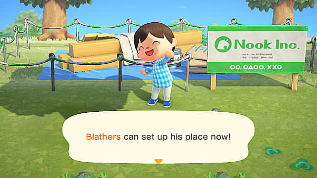 Set up the Museum Tent while you wait on Blathers to bring you the shovel recipe.