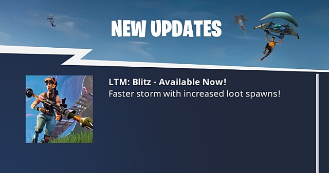 Update screen indicating that blitz mode is now available in Fortnite