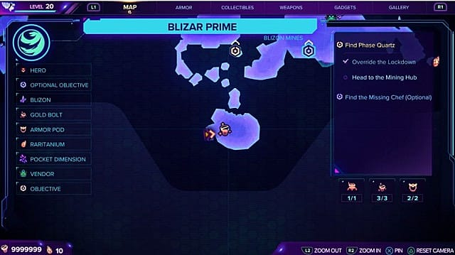 A map showing the first gold bolt location on Blizar Prime.