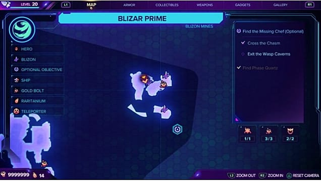 A map showing the third gold bolt location on Blizar Prime.