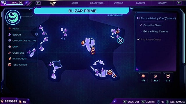 A map showing the second gold bolt location on Blizar Prime.