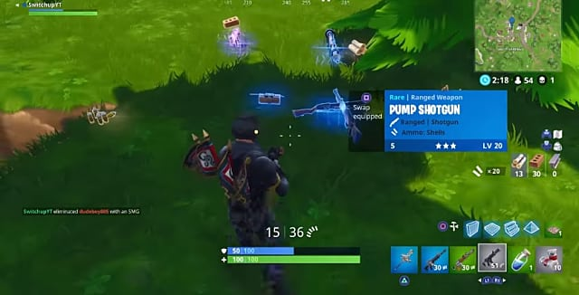 Coming upon a trove of goodies, including the blue pump shotgun