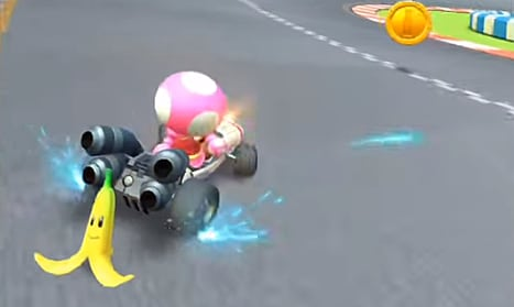 Blue sparks indicate a mini turbo boost in Mario Kart Tour
