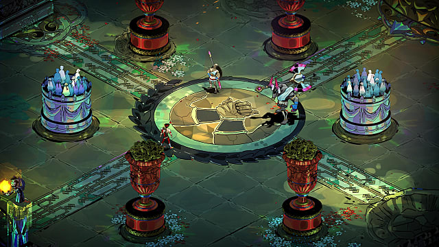 Zagreus facing Theseus and the Minotaur in the boss arena.