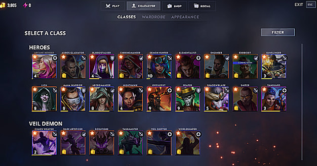 Breach character select screen with 18 heroes and 6 veil demons