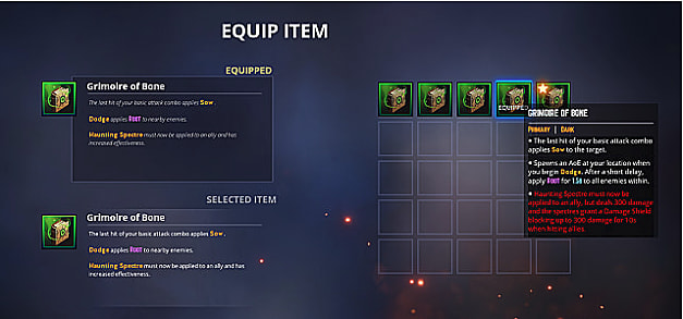 Equip item screen with item descriptions