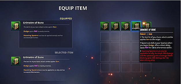 Equip item screen with item descriptions