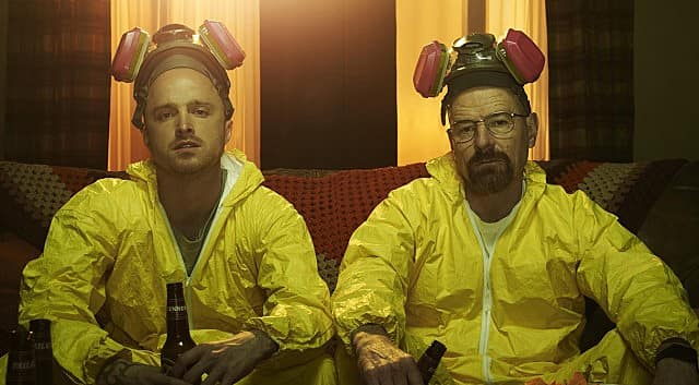 Breaking Bad played on a TCL P-Series shows Walter White and Jesse Pinkman wearing hazmat suits