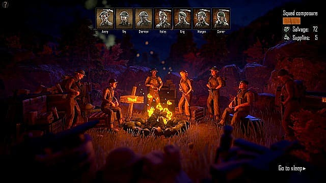 A party of soldiers gathers around a campfire at the end of a turn.