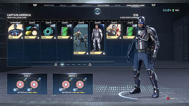 Captain America standing to the right of his weekly and daily challenge cards.