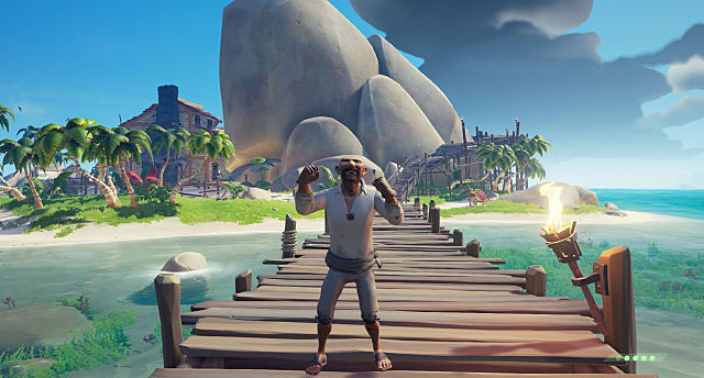 A pirate from Sea of Thieves standing on a dock
