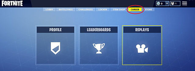 career menu in Fortnite