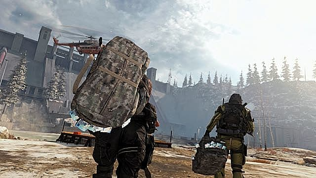 Players carry cash bags to a helipad drop point.