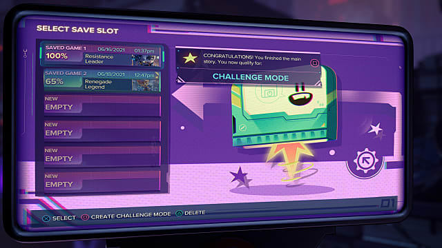 The purple challenge mode screen from the save slot menu.