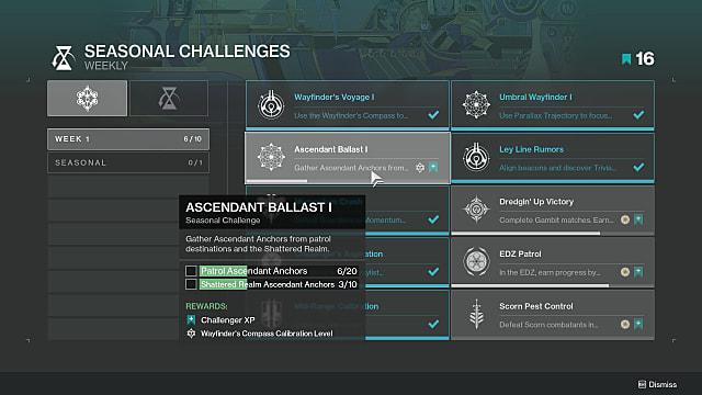 Seasonal challenges menu showing Ascendant Ballast 1.