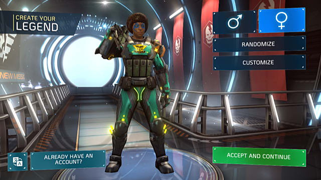 character creation screen in Shadowgun Legends