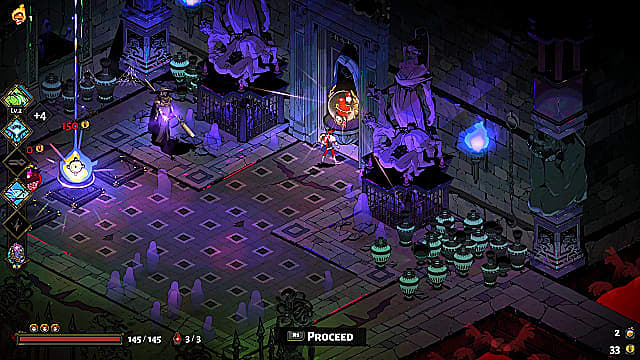 Zagreus standing in Charon's shop by two purple statues looking at a dungeon door.