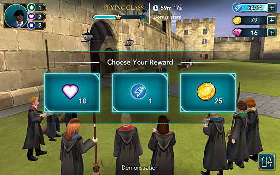 Wizards and witches choosing rewards outside