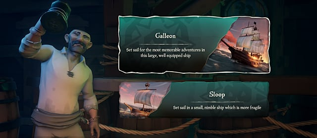 ship selection screen in sea of thieves