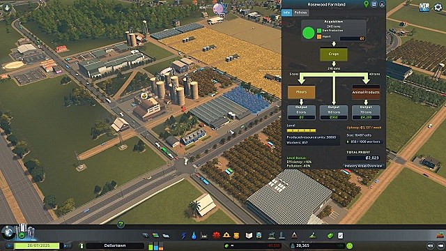 A high-level view of an agricultural zone with a menu showing input and output goods